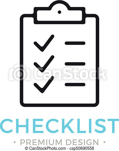 checklist line icon clipboard with checkmarks list with ticks check marks task is done work is