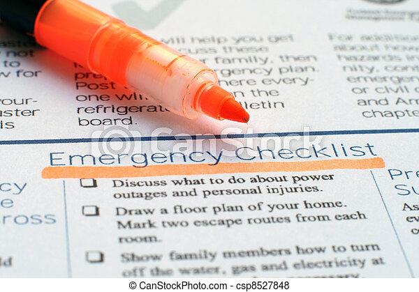 checklist, nødsituation - csp8527848