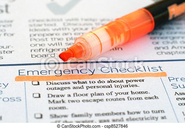 checklist, nødsituation - csp8527846