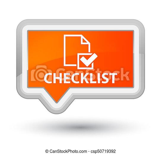 Checklist prime orange banner button - csp50719392