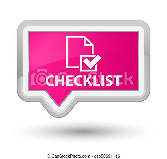 Checklist prime pink banner button - csp50691116