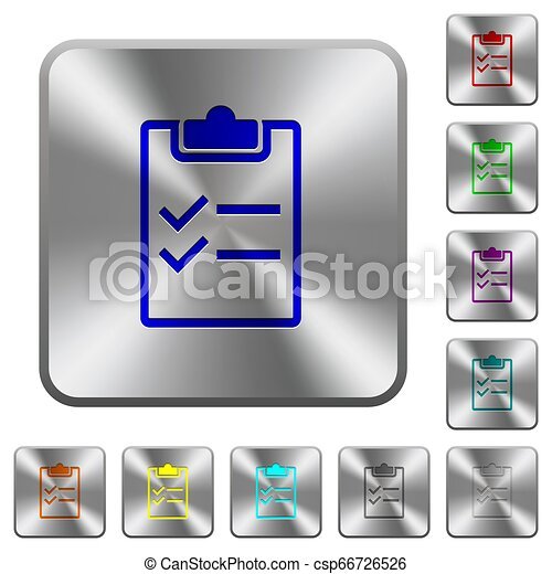 Checklist rounded square steel buttons - csp66726526