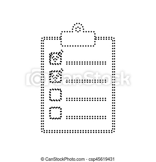 Checklist sign illustration. Vector. Black dotted icon on white background. Isolated. - csp45619431