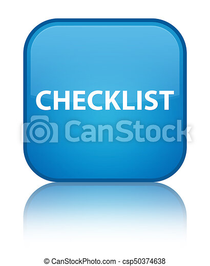 Checklist special cyan blue square button - csp50374638