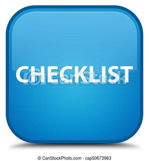 Checklist special cyan blue square button - csp50673963
