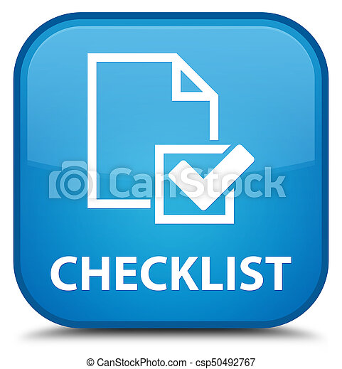 Checklist special cyan blue square button - csp50492767