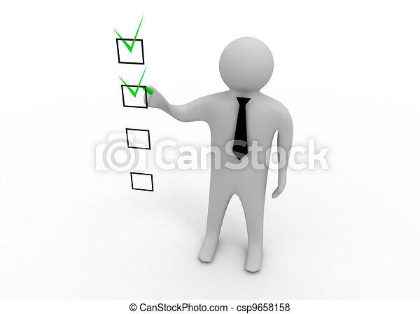 checklista, 3, man - csp9658158