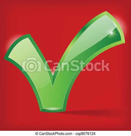 Ilustración de la marca verde en el fondo rojo - csp9076124
