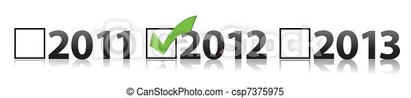 checkmark selecting 2012  - csp7375975