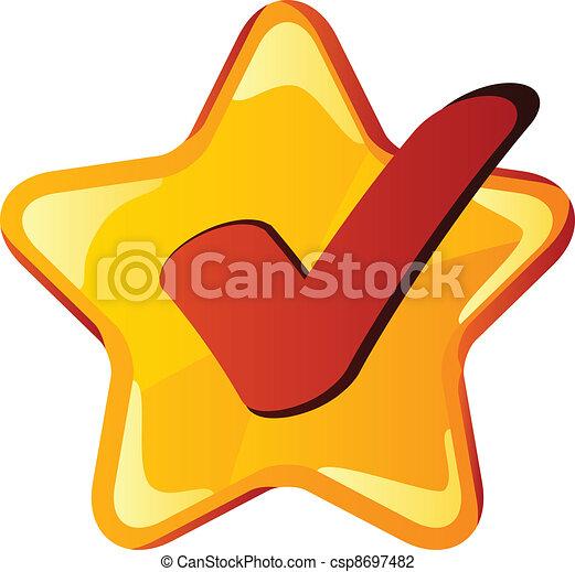 checkmark, vettore, stella, giallo - csp8697482