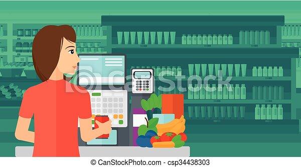 Cajero en el supermercado. - csp34438303