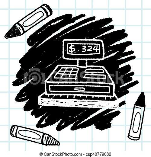 Checkout Machine Doodle - csp40779082