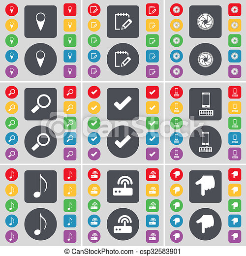 Checkpoint, Survey, Lens, Magnifying glass, Tick, Smartphone, Note, Router, Hand icon symbol. A large set of flat, colored buttons for your design. - csp32583901