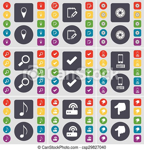 Checkpoint, Survey, Lens, Magnifying glass, Tick, Smartphone, Note, Router, Hand icon symbol. A large set of flat, colored buttons for your design. Vector - csp29827040
