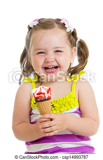 Remarkable Girl eating ice cream fantastic way!