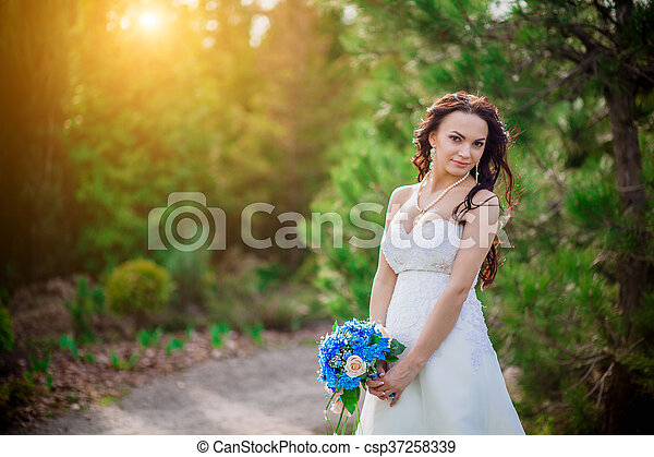 Cheerful bride showing happiness - csp37258339