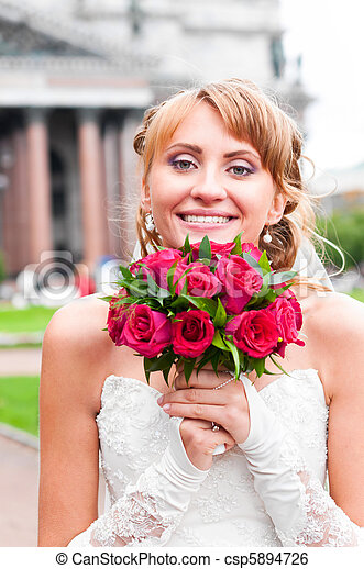 cheerful bride - csp5894726