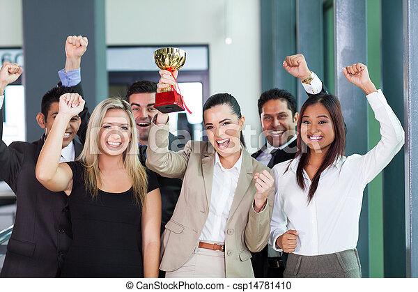 cheerful business team winning an award - csp14781410