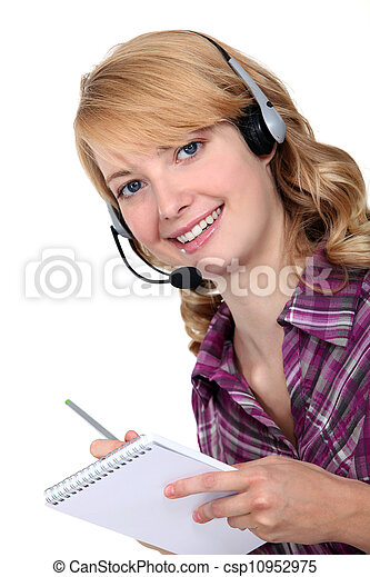 Cheerful call-center worker - csp10952975