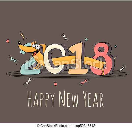 cheerful cartoon dog walking through 2018 lettering new year 2018 greeting card template