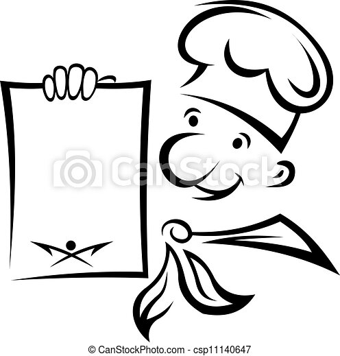 Cheerful chef with menu - csp11140647