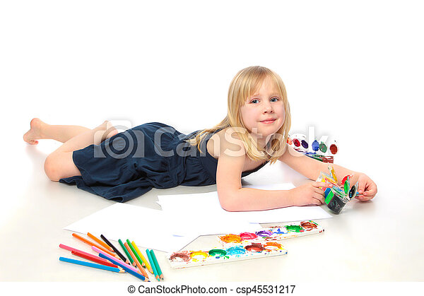 cheerful child with paint end pensil - csp45531217