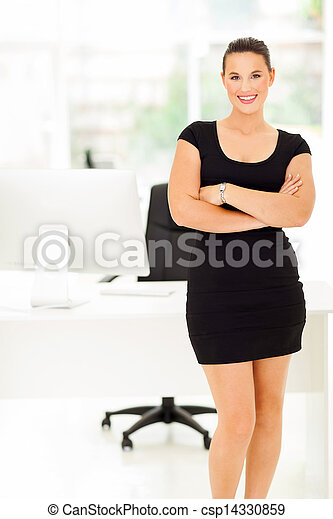 cheerful corporate worker in office - csp14330859