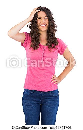 Cheerful cute brunette posing - csp15741706