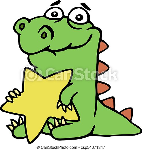 cheerful dragon holds a large gold star funny cheerful eps rh canstockphoto com Thieves Clip Art Glitter Star Clip Art