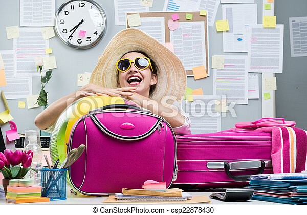 Cheerful employee leaving for vacations cheerful office stock cheerful employee leaving for vacations stock photo sciox Image collections