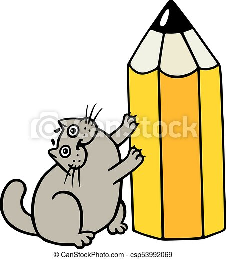 cheerful fat cat loves pencils cartoon cool character isolated rh canstockphoto com fat cat clipart black and white fat cat clipart black and white