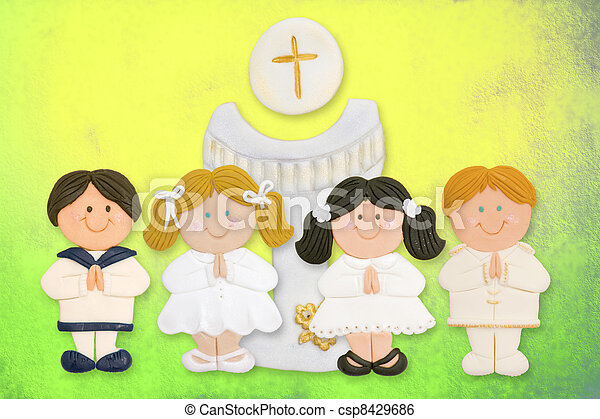 cheerful first communion card, a group of children and goblet - csp8429686