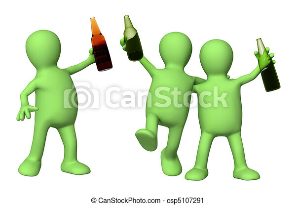 Cheerful friends with bottles of beer  - csp5107291