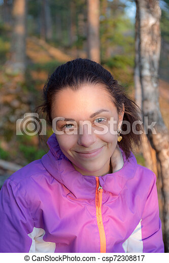 cheerful girl in the evening light - csp72308817