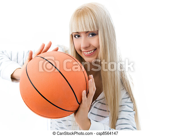 cheerful girl throwing a basketball ball - csp8564147