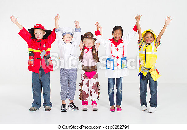 cheerful group of kids in uniforms - csp6282794