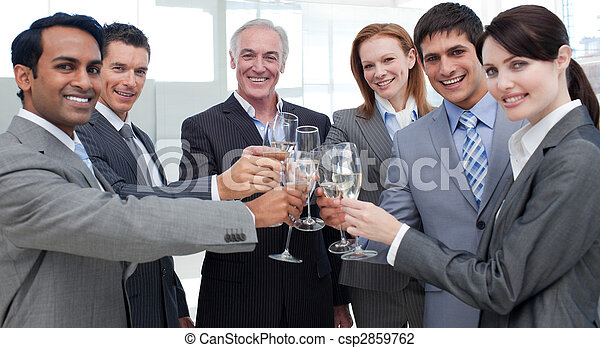 Cheerful international business people celebrating a sucess - csp2859762