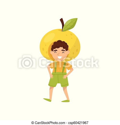 Cheerful little boy in apple headwear. Funny kid dressed as fruit. Preschool child with happy face. Flat vector design - csp60421967