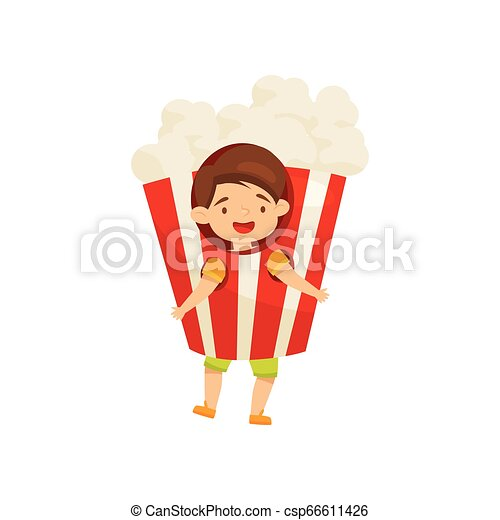 Cheerful little boy wearing pop corn costume. Funny child. Kid with happy face. Flat vector design - csp66611426