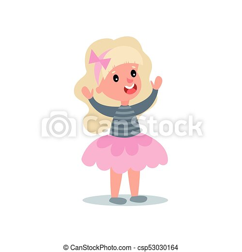Cheerful little girl with long blond hair in puffy pink skirt and blouse with stripes. Kid character with happy face expression standing with hands up. Flat vector design - csp53030164