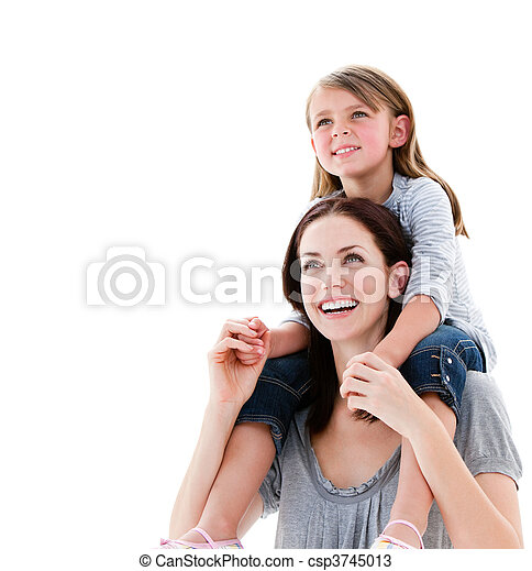 Cheerful mother giving piggyback ride to her daughter - csp3745013