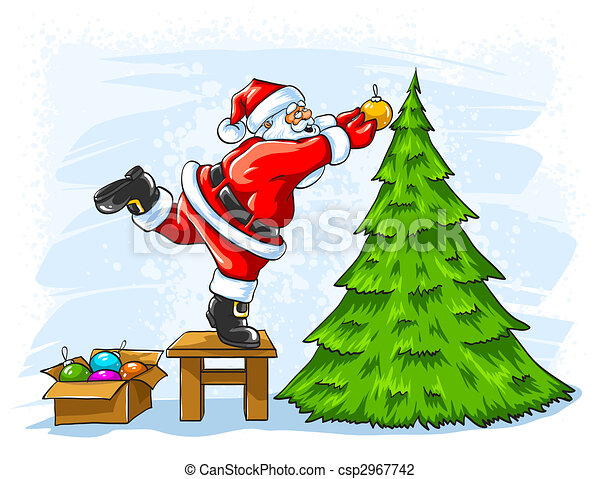Cheerful Santa Claus Decorating Christmas Tree Vector Illustration