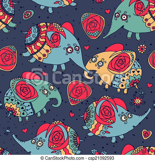 Cheerful seamless pattern with elephants and roses - csp21092593