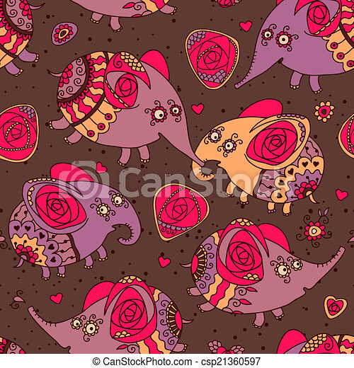 Cheerful seamless pattern with elephants and roses - csp21360597
