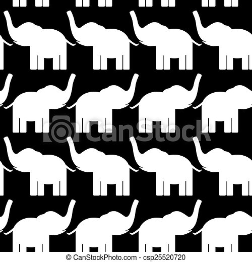 Cheerful seamless pattern with elephants. black and white. vector - csp25520720