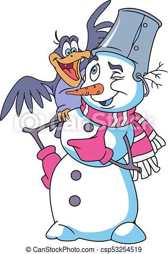 Cheerful Snowman Cartoon - csp53254519