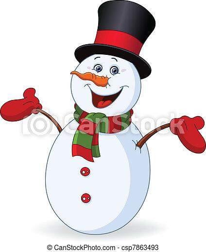 Cheerful snowman - csp7863493