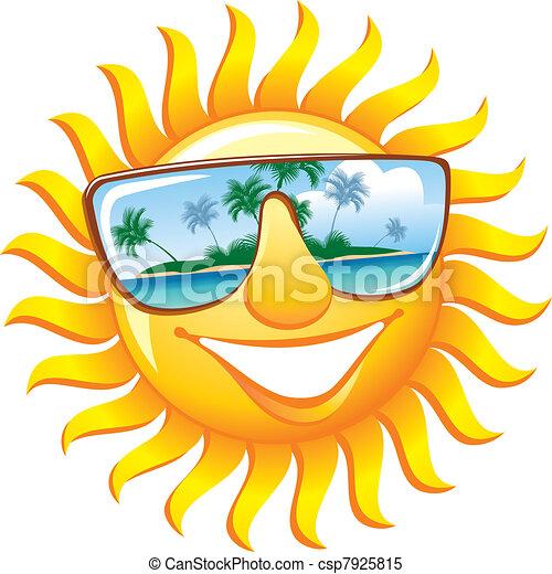 Cheerful sun in sunglasses - csp7925815