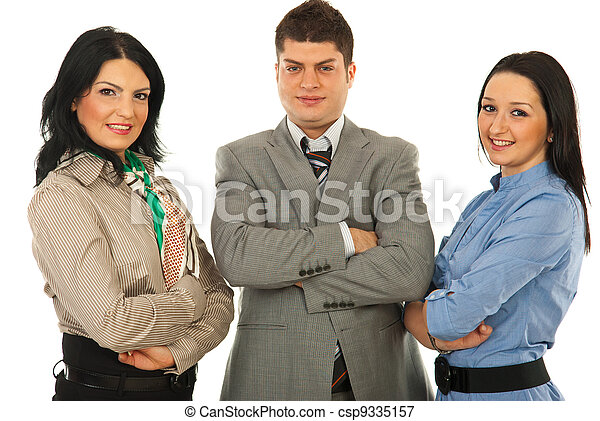 Cheerful team of business people - csp9335157
