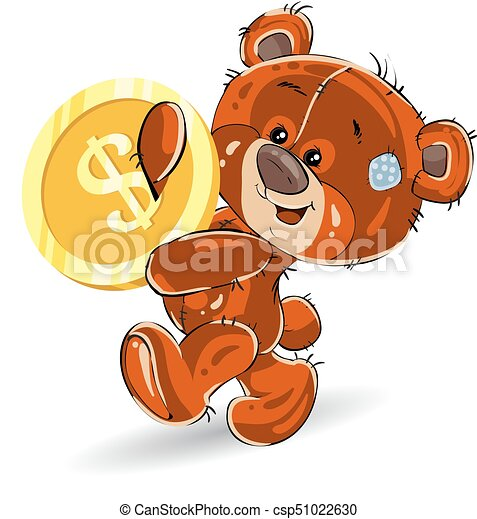 Cheerful teddy bear, in hands carries a gold dollar, a cartoon on a white background. - csp51022630